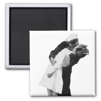 End of War Kiss Square Magnet