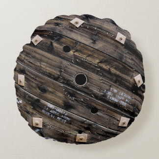 End of Wooden Industrial Wire Spool Round Cushion