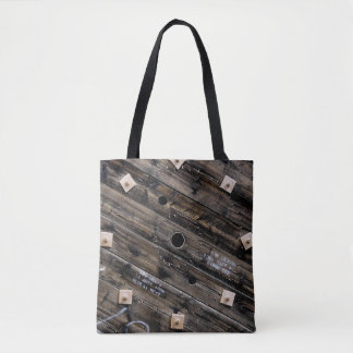 End of Wooden Industrial Wire Spool Tote Bag