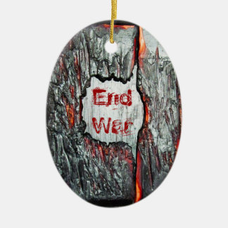 End War Double-Sided Oval Ceramic Christmas Ornament