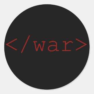 End War (in HTML) Round Sticker