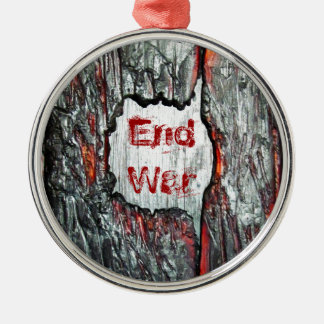 End War Silver-Colored Round Decoration