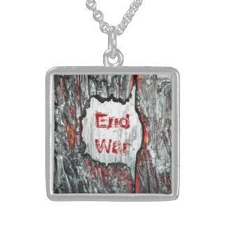 End War Square Pendant Necklace