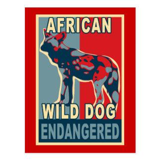Endangered African Wild Dog Pop Art Tshirts Postcard