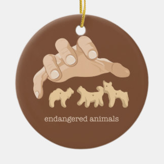 Endangered Animals Round Ceramic Decoration