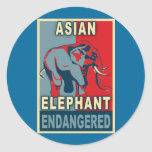 Endangered Asian Elephant Pop Art Tshirts Round Sticker