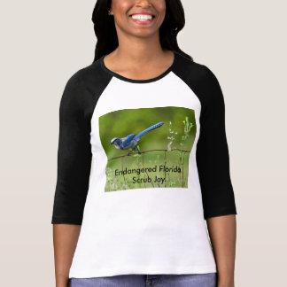 Endangered Florida Scrub Jay sleeved T-Shirt