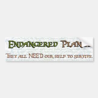 Endangered Planet Typography(Swirl) Bumper Sticker