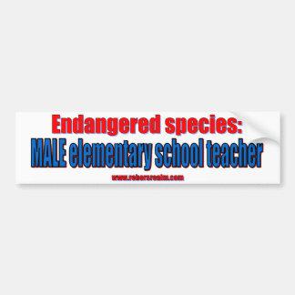 Endangered species: male elementary teacher. bumper sticker