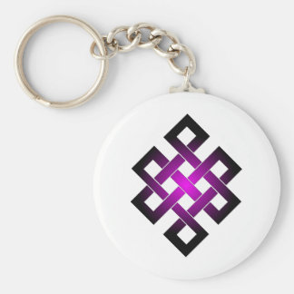 Endless knot basic round button key ring