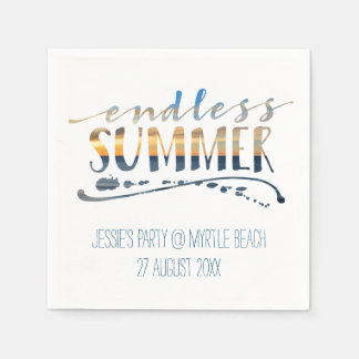 Endless Summer Beach Vacation Sunset Typography Disposable Serviettes