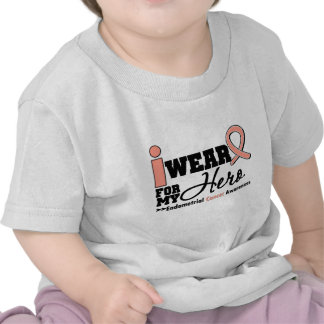 Endometrial Cancer I Wear Peach Ribbon For My Hero T Shirts