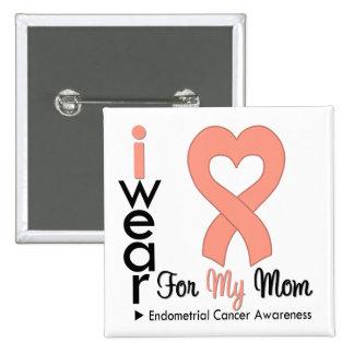 Endometrial Cancer Peach Heart Ribbon MOM 15 Cm Square Badge