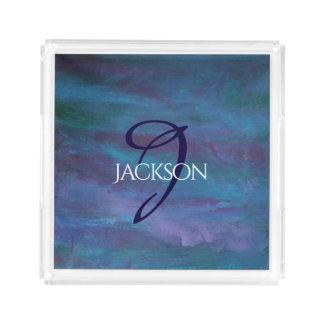 Energetic Bath | Monogram Blue Purple Teal Pastel Acrylic Tray
