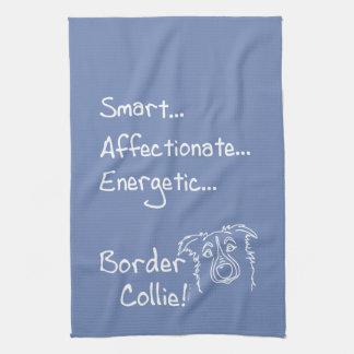 Energetic border collie tea towel