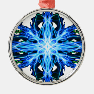 Energetic Geometry- Water Element - abstract Silver-Colored Round Decoration
