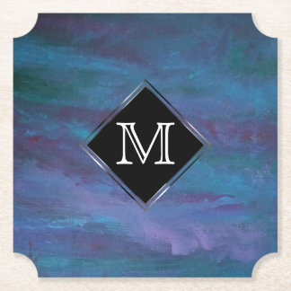 Energetic Party | Custom Blue Purple Teal Ombre | Paper Coaster