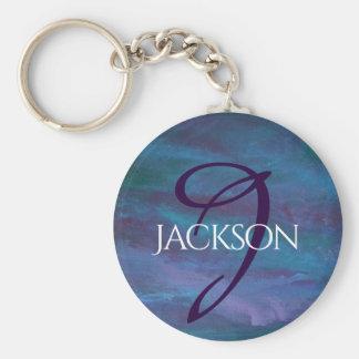Energetic Style   Monogram Blue Purple Turquoise   Key Ring