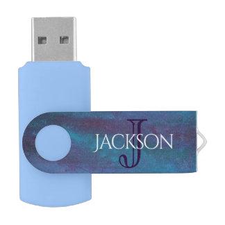 Energetic Tech | Monogram Blue Purple Teal Pastel USB Flash Drive