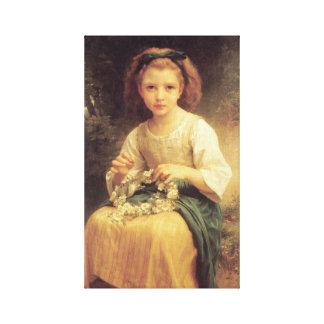 Enfant tressant une couronne by William Bouguereau Canvas Print