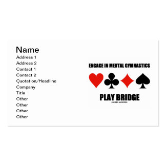Engage In Mental Gymnastics Play Bridge Card Suits Business Card Templates