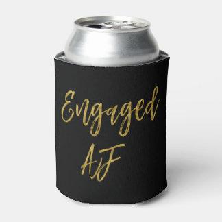 Engaged AF Black and Gold Foil Can Cooler