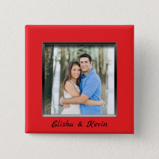 Engaged Couple Red Frame Button with Names