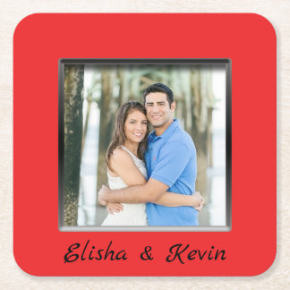 Engaged Couple Red Frame Coaster with Names
