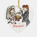 Engaged Customised Wedding Keepsake Ceramic Heart Decoration