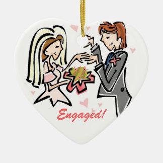 Engaged Customized Wedding Keepsake Ceramic Ornament