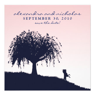 Engaged Embrace Save the Date Announcement pink