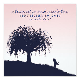 """Engaged Embrace Save the Date Announcement: pink 5.25"""" Square Invitation Card"""