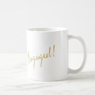 Engaged Gold Faux Glitter Metallic Sequins Coffee Mug