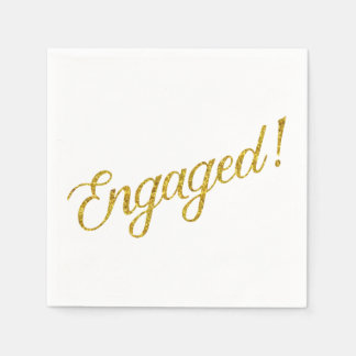Engaged Gold Faux Glitter Metallic Sequins Quote Disposable Napkins