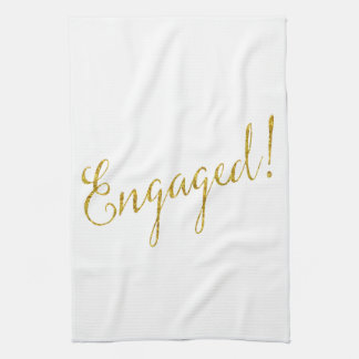Engaged Gold Faux Glitter Metallic Sequins Tea Towel