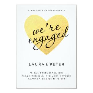 Engagement announcement | gold heart