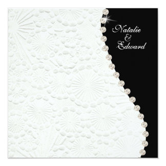 Engagement Black and White Vintage Pattern Invite