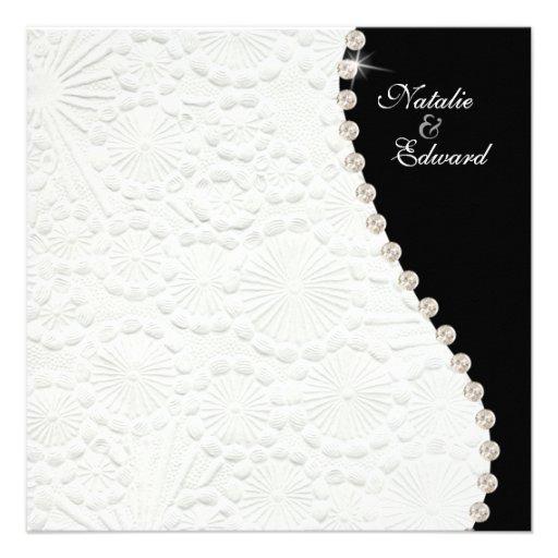 Engagement Black and White Vintage Pattern Invite