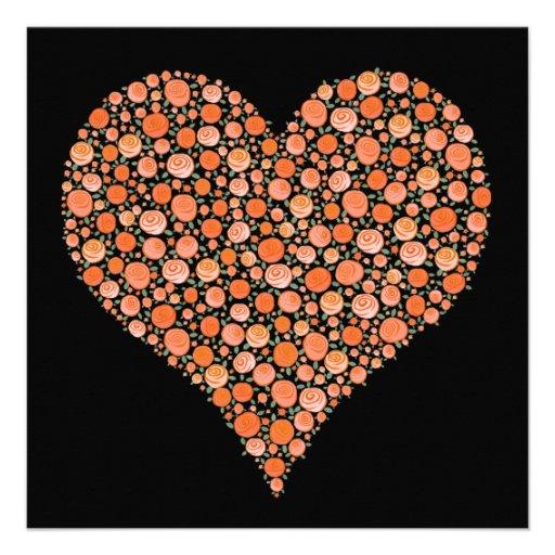 Engagement Black Tangerine Roses Heart Invite