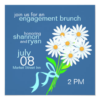 "Engagement Brunch Invitations {Blue} 5.25"" Square Invitation Card"