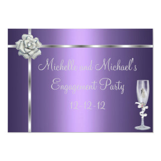 Engagement Elegant Purple Silver White Flower Card