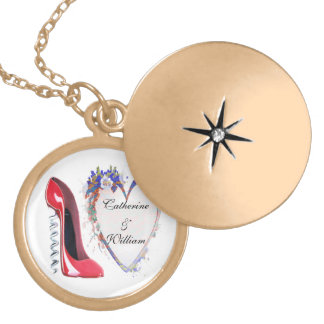 Engagement Gift Necklace, Red Corkscrew Stiletto a Locket Necklace