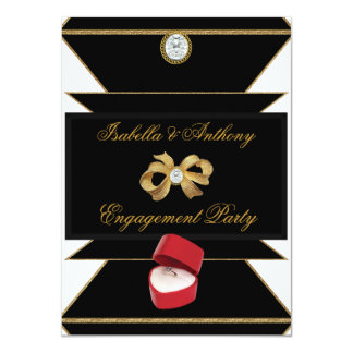 """Engagement Gold Diamond Ring Red Black Party 4.5"""" X 6.25"""" Invitation Card"""