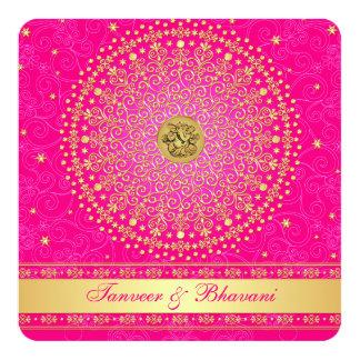 Engagement Invitation | Ganesh Pink Gold Scrolls