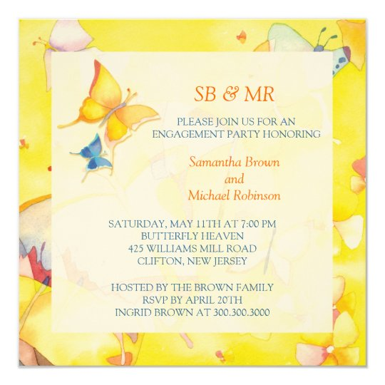 Engagement Invitations: Colourful Butterflies Card