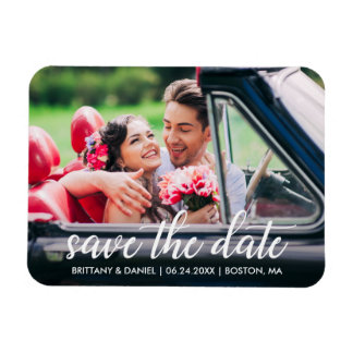Engagement Modern Script Save The Date Photo Magnet
