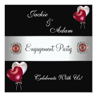 Engagement Party Black Red White Balloons 13 Cm X 13 Cm Square Invitation Card