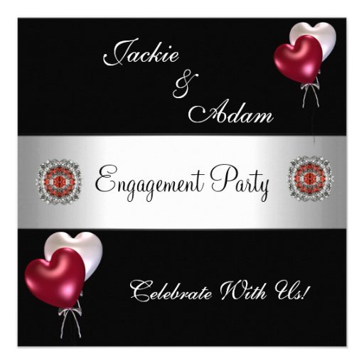 Engagement Party Black Red White Balloons Invite