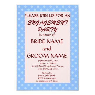 Engagement Party-Blue Polka Dots, Pink Background Announcements