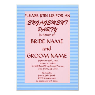 Engagement Party - Blue Stripes, Pink Background Personalized Invitations